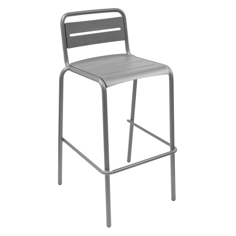 EmuAmericas 164 ALU Stacking Barstool w/ Steel Slat Back & Steel Seat, Foot Rest, Aluminum