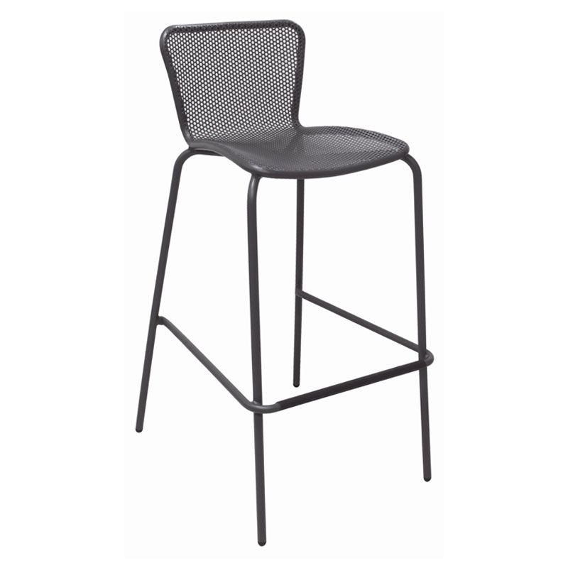 EmuAmericas 335 AIRON Stacking Barstool w/ Perforated Steel Mesh Back & Seat, Tubular Frame, Iron