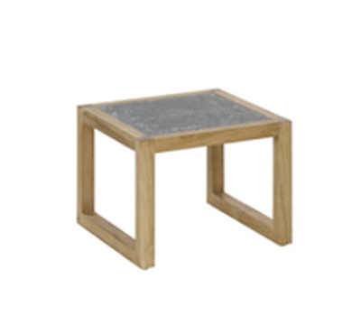 EmuAmericas 6429 18-in Side Square Table w/ Lava Stone Top & Natural Teak Wood Frame