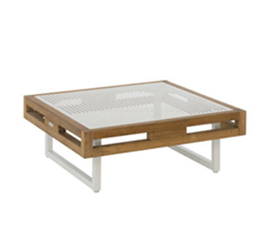 EmuAmericas 6430 32-in Low Square Table w/ Natural Teak Wood Slat & Metal Sheet Top, White