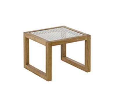 EmuAmericas 6431 18-in Side Square Table w/ Metal Sheet Top & Natural Teak Wood Frame