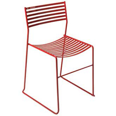 EmuAmericas 027 ALU Aero Side Chair, Steel Slat Seat & Back, Aluminum