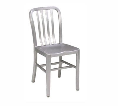 EmuAmericas 1004 Anna Side Chair, Slat Back, Saddle Seat, Brushed Aluminum