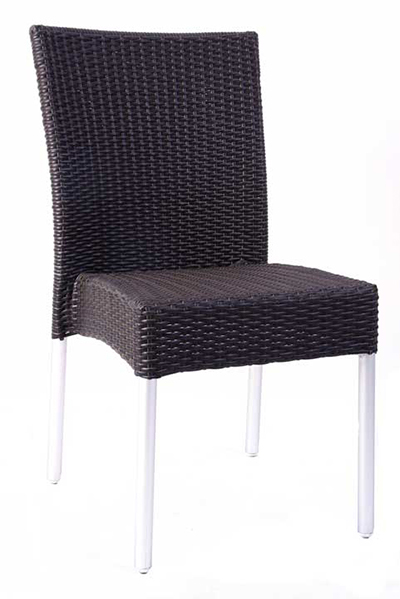 EmuAmericas 1008 Bella Stacking Side Chair, Wicker, Aluminum, Espresso