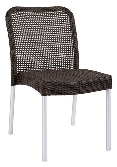 EmuAmericas 1011 WG2 Rita Stacking Side Chair, Wicker, Matte Alumi