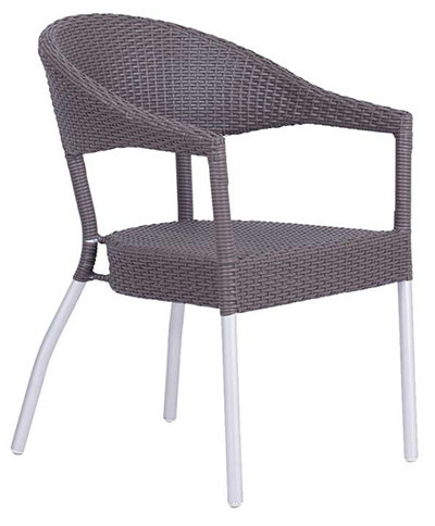 EmuAmericas 1107 WN2 Donna Stacking Armchair, Wicker, Matte Alum