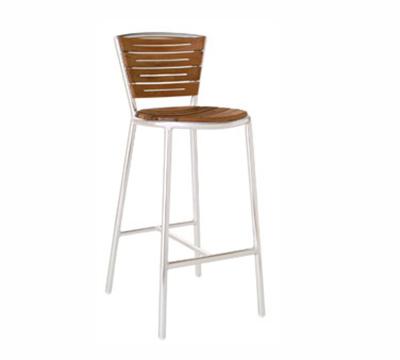 EmuAmericas 1201 Karen Barstool, Foot Rest, Teak Seat & Back, Aluminum Frame