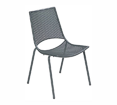 EmuAmericas 150 ALU Topper Side Chair, Mesh Seat & Back, Tubular Frame, Aluminum