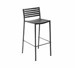 EmuAmericas 264 ALU Segno Barstool, Steel Slat Seat & Back, Square Frame, Aluminum