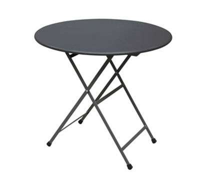 EmuAmericas 346 32-in Round Arc En Ciel Folding Table w/ Mesh Top & Tubular Legs, Powder Co