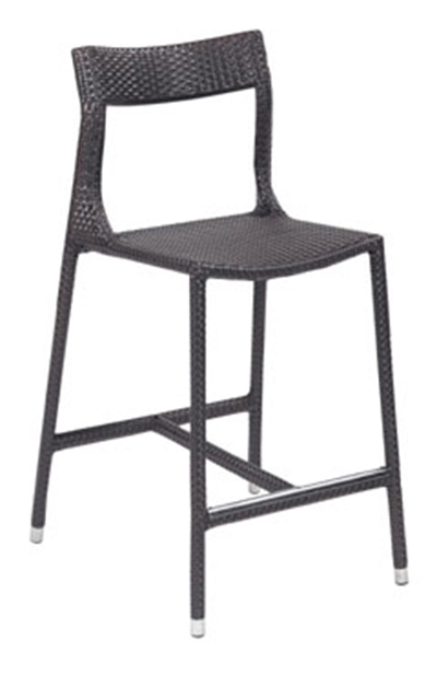 EmuAmericas 6506 Tebe Barstool, Foot Rest, Wicker, Aluminum Frame, Dark Brown