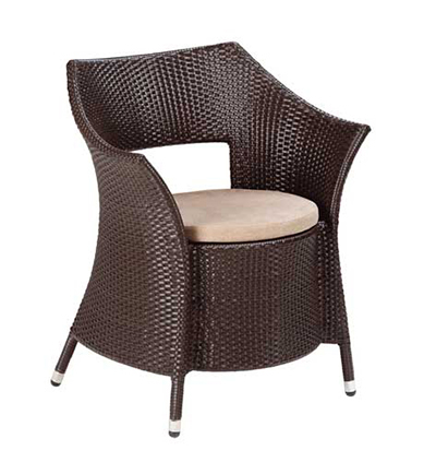 EmuAmericas 6531 Dafne Armchair, All-Weather, Wicker, Aluminum, Dark Brown