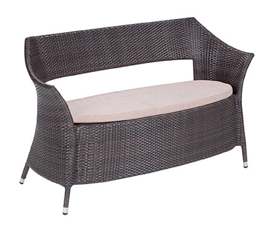 EmuAmericas 6533 Dafne Bench, All-Weather, Wicker, Aluminum, Dark Brown