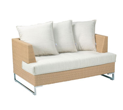 EmuAmericas 6542 Luxor Wicker Outdoor Lounge Loveseat - Aluminum/Stainless
