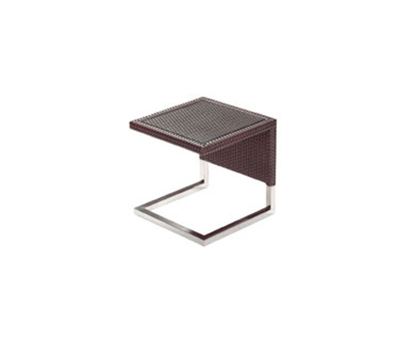 "EmuAmericas 6553 16-1/2"" Luxor Outdoor Side Table - Glass Top, Wicker/Aluminum, Bronze-Finish"