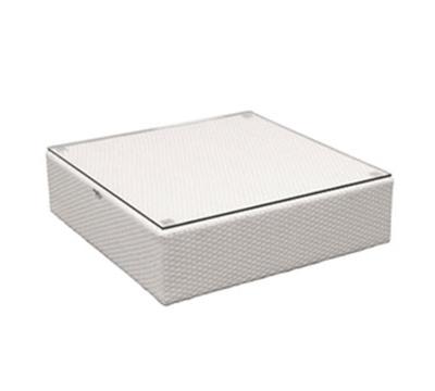 "EmuAmericas 6565 34"" Mini Jerra Square Outdoor Ottoman/Low Table - Aluminum, Dark Brown"