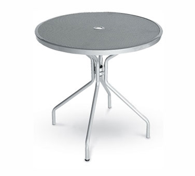 EmuAmericas 803 WHITE Cambi Table, 32 in Diameter, Umbrella Hole, Mesh Top, Whit