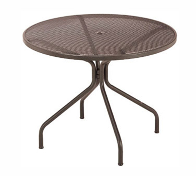 EmuAmericas 804 ALU Cambi Table, 42 in Diameter, Umbrella Hole, Mesh Top, Aluminum