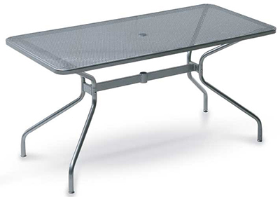 EmuAmericas 810 ALU Drink Table, 72 W x 32 in D, Umbrella Hole, Mesh, Aluminum