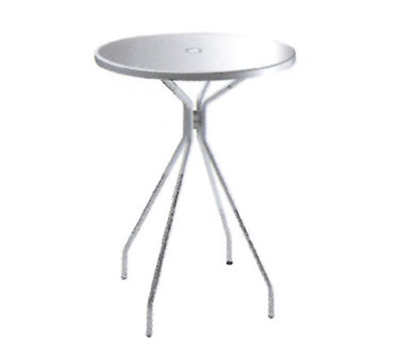 EmuAmericas 830 ALU Bar Table, 32 in Diameter, Umbrella Hole, Solid Top, Aluminum