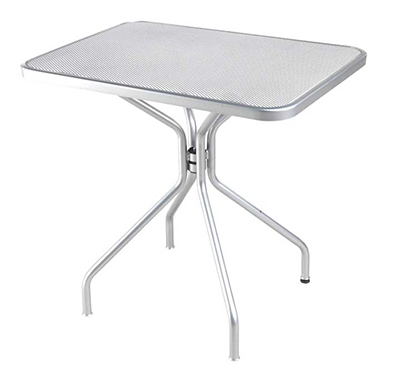 EmuAmericas 834 ALU Cambi Table, 32 W x 24 in D, Steel Legs, Mesh Top, Aluminum