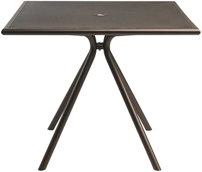 EmuAmericas 862 Forte Table, 36 in Square, Umbrella Hole, Mesh, Ir