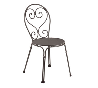 EmuAmericas 909 BLACK Pigalle Side Chair, Design Pattern, Black