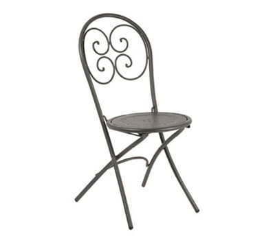 EmuAmericas 924 BLACK Pigalle Folding Chair, Design Pattern, Black