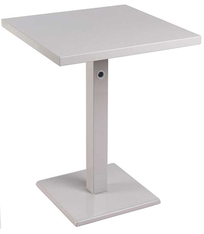 EmuAmericas 472K ALU 24 in Square Lock Table, Column & Pedestal, Aluminum
