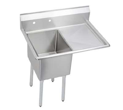 Elkay E1C24X24-R-24X Sink w/ 24x24x12-in Bowl & 9-in Splash, 24-in Right Drainboard