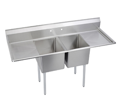 Elkay E2C20X20-2-20X Sink w/ (2) 20x20x12-in Bowl & 9-in Splash, 20-in L-R Drainboard