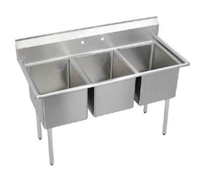Elkay E3C24X24-0X Sink w/ (3) 24x24x12-in Bowl & 9-in Splash