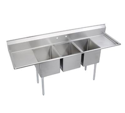 Elkay E3C16X20-2-18X Sink w/ (3) 16x20x12-in Bowl & 9-in Splash, 18-in L-R Drainboard