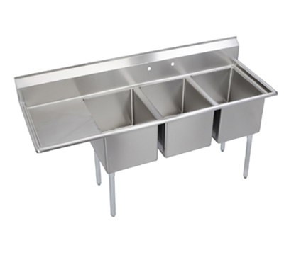 Elkay E3C24X24-L-24X Sink w/ (3) 24x24x12-in Bowl & 9-in Splash, 24-in Left Drainboard