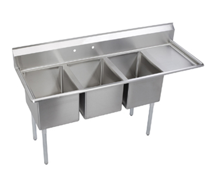 Elkay E3C20X20-R-20X Sink w/ (3) 20x20x12-in Bowl & 9-in Splash, 20-in Right Drainboard