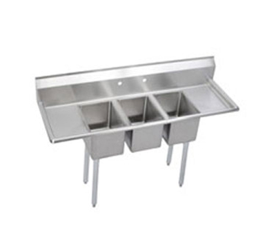 Elkay 3C12X16-2-12X Deli Sink w/ (3) 12x16x10-in Bowl & 9.75-in Splash, 12-in L-R Drainboard