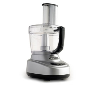 Omega O660 11-Cup Vertical Chute Food Processor w/ Accessories, Silver