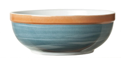 "World Tableware CCB-20145 5-3/4"" Oatmeal Bowl - Ceramic, Blue, Terra Cotta Rim,"