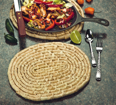 "World Tableware TRV-100 11"" Oblong Trivet - Natural Fibers"