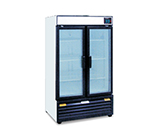 2-Section Upright Cooler w/ 2-Glass Doors & 6-Shelves, 18-cu ft
