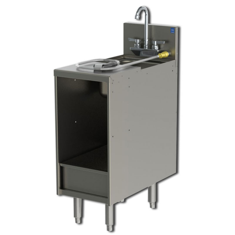 Perlick 7057-3 12-in Storage Cabinet w/ Sink & Removable Dump Box, Stainless