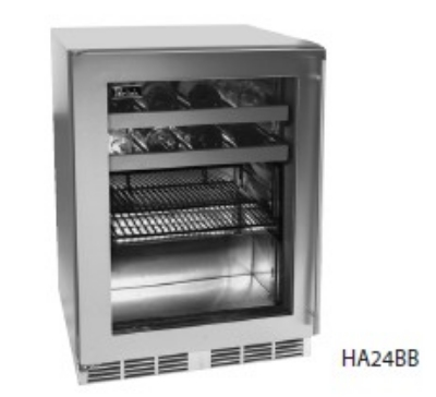 Perlick HA24BB-3RL Built-In Refrigerator w/ Glass Door & Stainless Frame, 4.3-cu ft, ADA