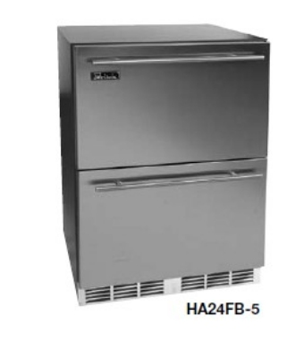Perlick HA24FB-5 Built-In Freezer w/ 2-Drawers, 4.3-cu ft, ADA, Black Vinyl Top/Sides