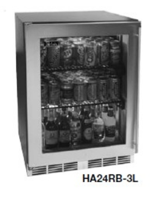 Perlick HA24RB-4LL Built-In Refrigerator w/ Glass Door & Lock, Overlay Frame, 4.3-cu ft, ADA, Black