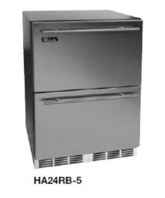 Perlick HA24RB-5DL Built-In Refrigerator w/ (2) Stainless Drawers & Lock, ADA, 4.3-cu ft, Black