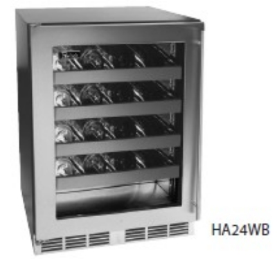 "Perlick HA24WB-3R 24"" One Section Wine Cooler w/ (1) Zone - 32-Bottle Capacity, 115v"