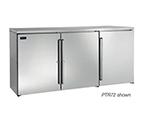 Perlick PR72 72-in Pass-Thru Backbar Refrigerator w/ 6-Solid Doors, Remote, Stainless