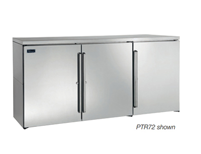 Perlick PR72 72-in Pass-Thru Backbar Refrigerator w/ 6-Solid Doors, Remote, Stainless