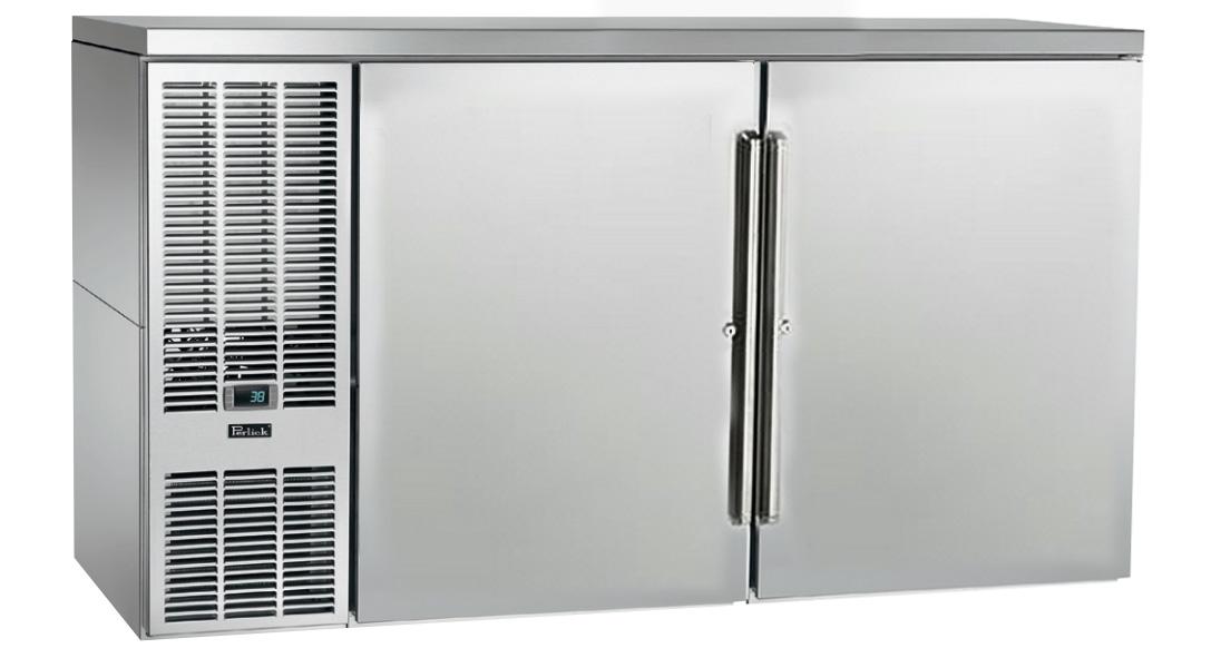"Perlick PTS60 60"" Bar Refrigerator w/ (2) Section - (4) Solid Swinging Doors, 120v"
