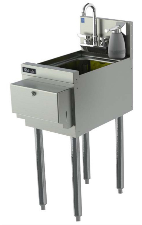 Perlick TS12HSN 12-in TS Series Underbar Hand Sink Unit w/ Soap Dispenser, Stainless